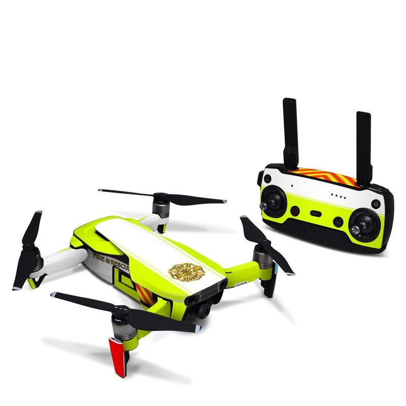 DJI Mavic Air Skin design of Yellow, Line, Font, Military rank with white, green, red, yellow colors