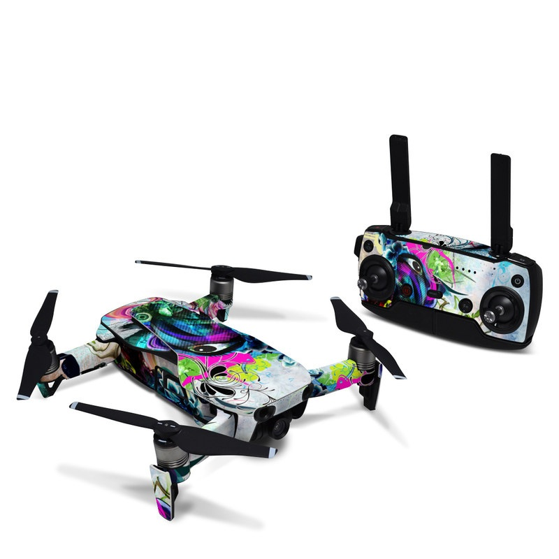 DJI Mavic Air Skin design of Graphic design, Psychedelic art, Art, Illustration, Purple, Visual arts, Graffiti, Street art, Design, Painting with gray, black, blue, green, purple colors