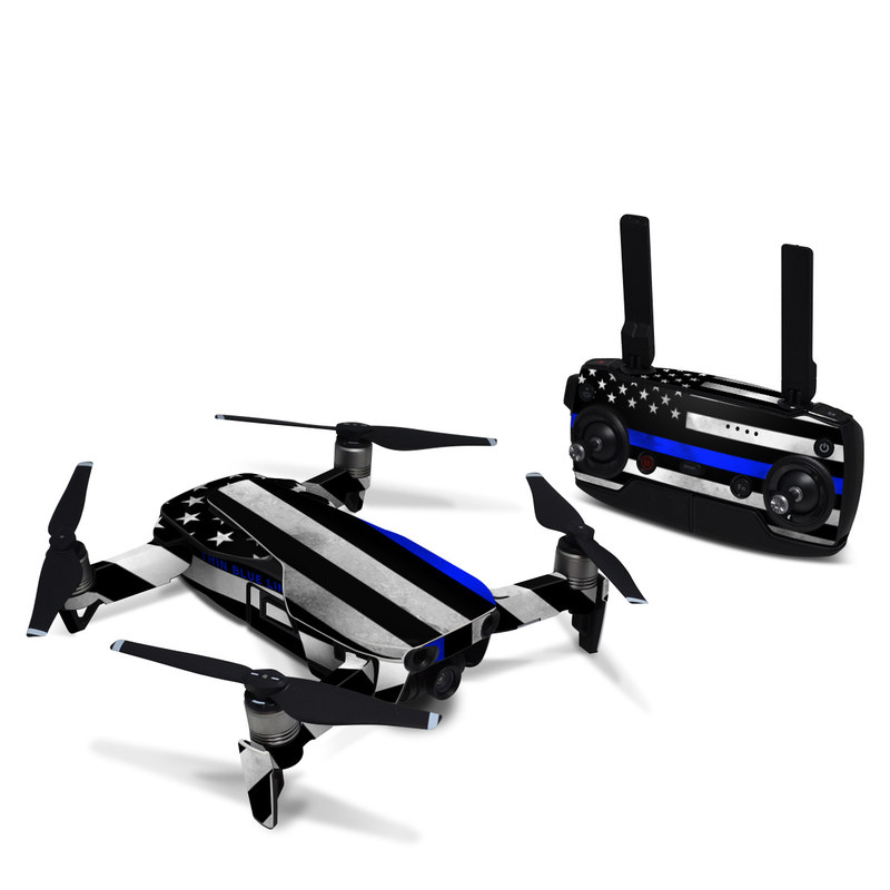 DJI Mavic Air Skin design of Line, Flag, Text, Flag of the united states, Font, Parallel, Symmetry, Black-and-white, Pattern, Graphics with black, white, gray, blue colors