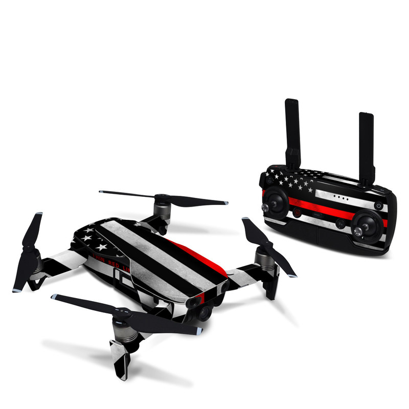 DJI Mavic Air Skin design of Flag, Flag of the united states, Text, Line, Font, Parallel, Pattern, Graphics with black, white, gray, red colors