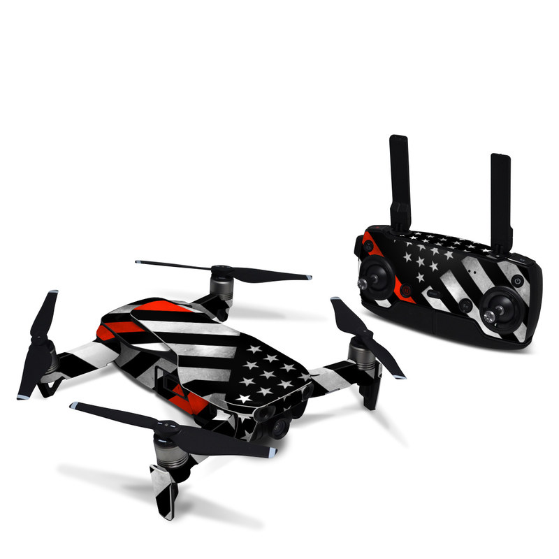 DJI Mavic Air Skin design of Flag of the united states, Flag, Line, Black-and-white, Pattern, Flag Day (USA), Veterans day, Independence day, Memorial day with black, white, gray, red colors