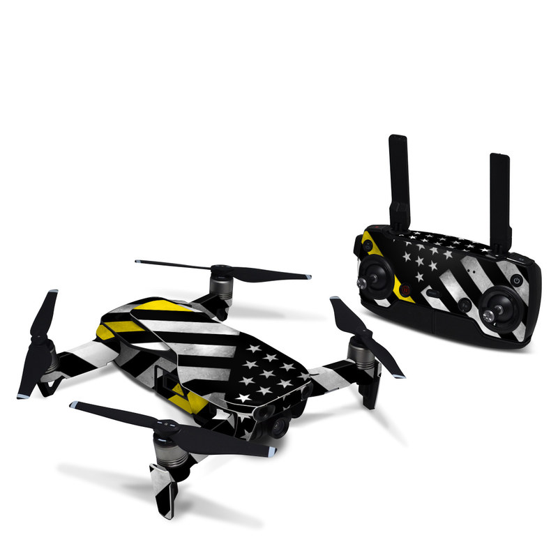 DJI Mavic Air Skin design of Flag of the united states, Flag, Yellow, Line, Black-and-white, Pattern, Monochrome, Graphic design, Parallel with black, white, gray, yellow colors