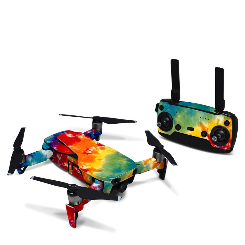 DJI Mavic Air Skin design of Orange, Watercolor paint, Sky, Dye, Acrylic paint, Colorfulness, Geological phenomenon, Art, Painting, Organism with red, orange, blue, green, yellow, purple colors
