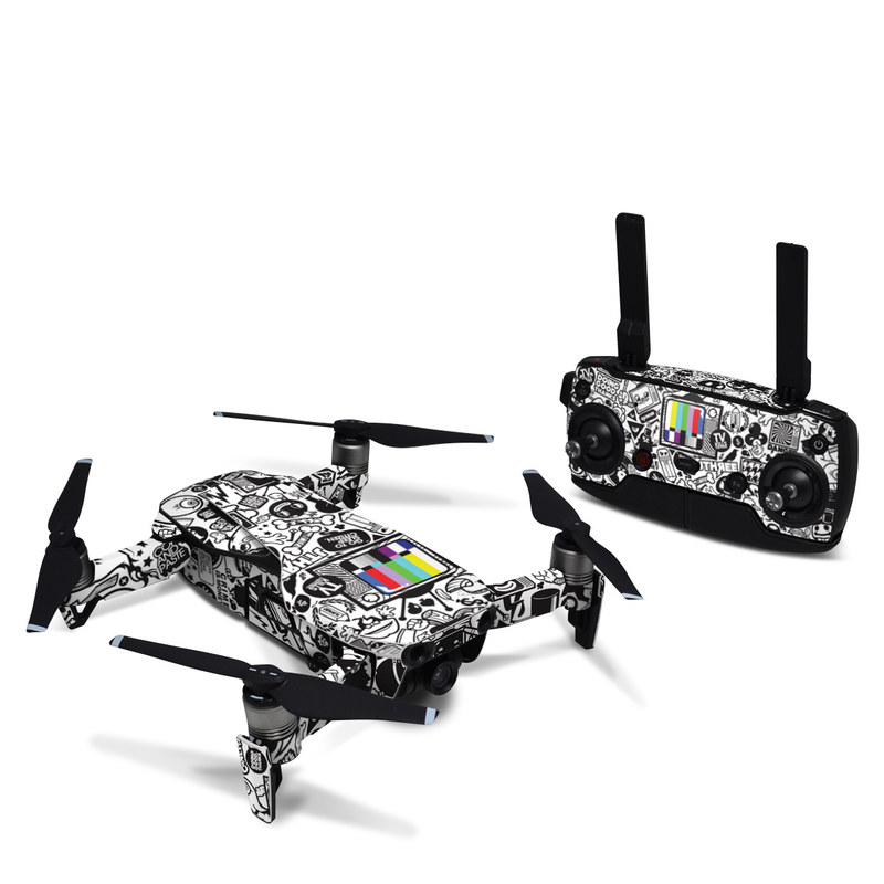 DJI Mavic Air Skin design of Pattern, Drawing, Doodle, Design, Visual arts, Font, Black-and-white, Monochrome, Illustration, Art with gray, black, white colors