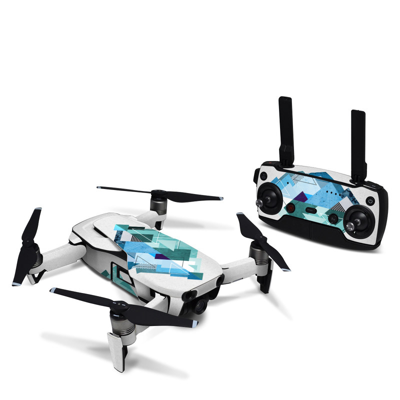 DJI Mavic Air Skin design of Blue, Turquoise, Illustration, Graphic design, Design, Line, Logo, Triangle, Graphics with gray, blue, purple colors