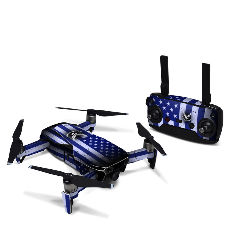 DJI Mavic Air Skin design of Text, Font, Design, Pattern, Flag, Graphic design, Logo, Graphics, Illustration with black, gray, blue, purple colors