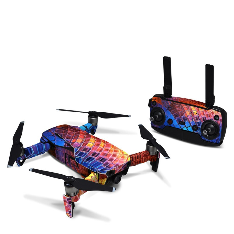 DJI Mavic Air Skin design of Blue, Red, Orange, Light, Pattern, Architecture, Design, Fractal art, Colorfulness, Psychedelic art with black, red, blue, purple, gray colors