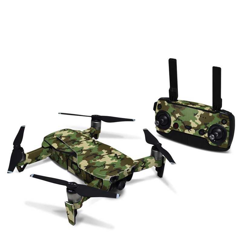 DJI Mavic Air Skin design of Military camouflage, Camouflage, Clothing, Pattern, Green, Uniform, Military uniform, Design, Sportswear, Plane with black, gray, green colors