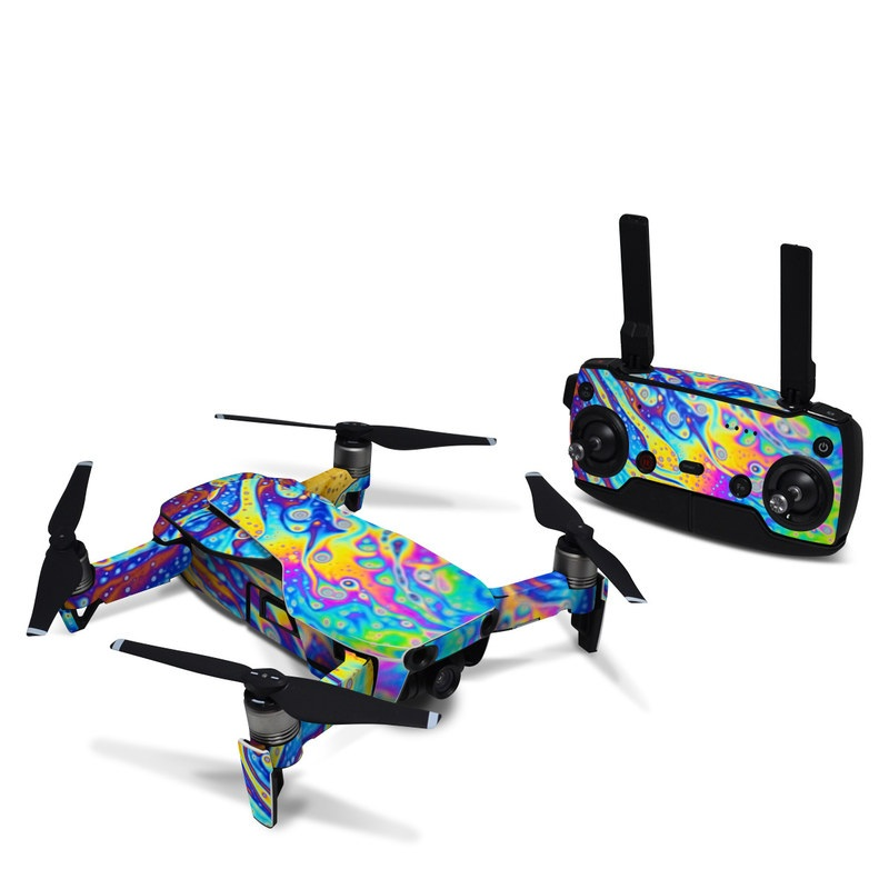 DJI Mavic Air Skin design of Psychedelic art, Blue, Pattern, Art, Visual arts, Water, Organism, Colorfulness, Design, Textile with gray, blue, orange, purple, green colors
