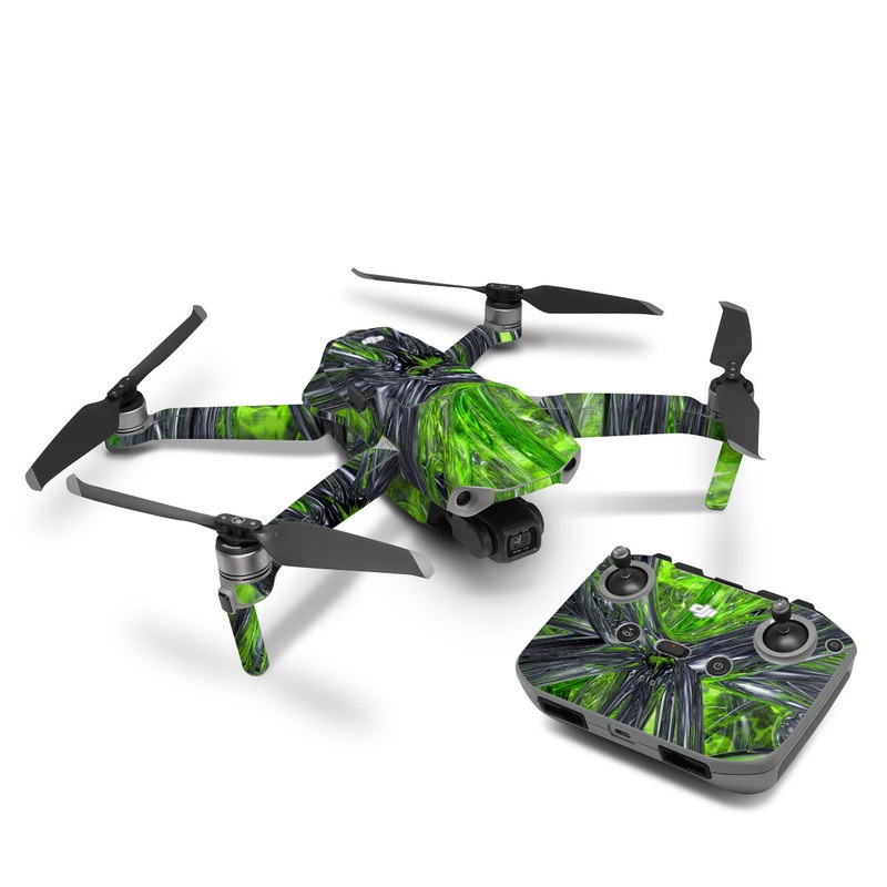DJI Mavic Air 2 Skin design of Green, Tree, Leaf, Plant, Grass, Terrestrial plant, Botany, Woody plant, Arecales, Vascular plant with green, gray, black colors