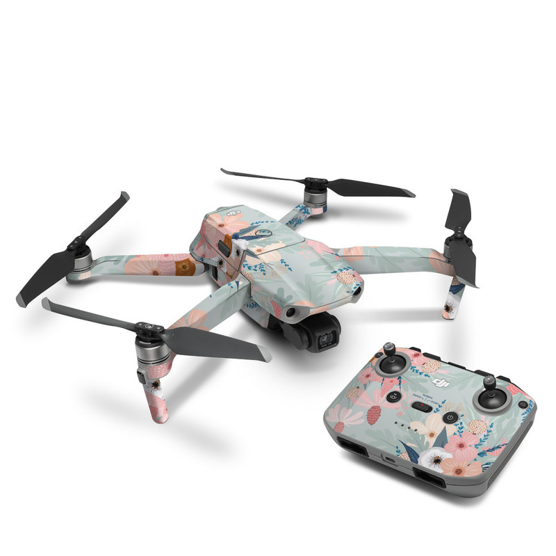 DJI Mavic Air 2 Skin design of Pattern, Aqua, Wrapping paper, Textile, Design, Floral design, Wildflower, Plant, Pedicel, Blossom with pink, red, blue, white colors