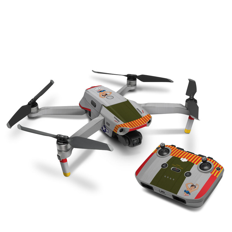 DJI Mavic Air 2 Skin design of Product, Textile, Font, Rectangle, Art, Pattern, Illustration, Graphics, Logo, Design with gray, red, yellow, green, blue, white, blue, black colors