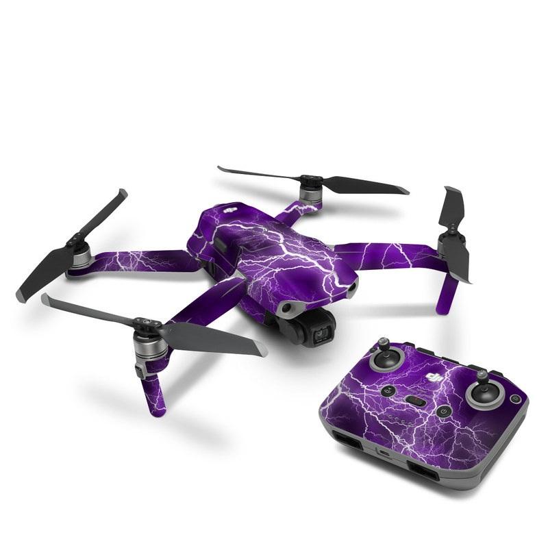 DJI Mavic Air 2 Skin design of Thunder, Lightning, Thunderstorm, Sky, Nature, Purple, Violet, Atmosphere, Storm, Electric blue with purple, black, white colors