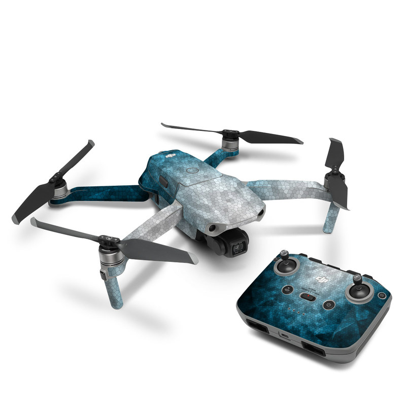 DJI Mavic Air 2 Skin design of Blue, Aqua, Turquoise, Green, Water, Teal, Sky, Azure, Pattern, Atmosphere with blue, white, gray colors
