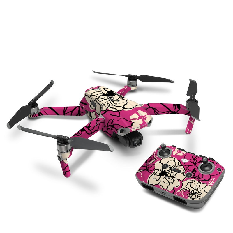 DJI Mavic Air 2 Skin design of Pink, Pattern, Petal, Flower, Floral design, Plant, Botany, Design, Magenta, Visual arts with pink, yellow colors