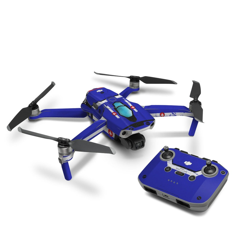 DJI Mavic Air 2 Skin design of Floppy disk, Technology, Electric blue, Fictional character with white, blue, black, gray colors