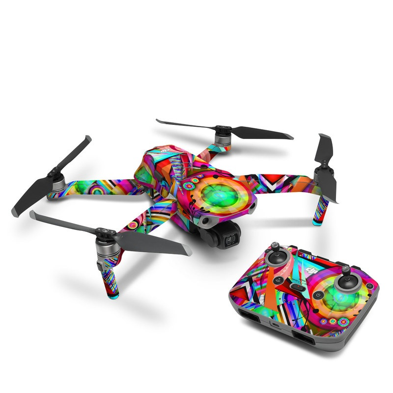DJI Mavic Air 2 Skin design of Psychedelic art, Pattern, Design, Graphic design, Colorfulness, Visual arts, Circle, Art with red, pink, green, yellow, orange colors