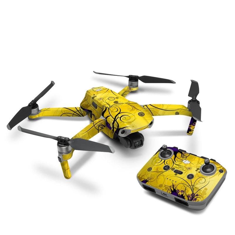 DJI Mavic Air 2 Skin design of Yellow, Pattern, Floral design, Purple, Graphic design, Design, Wallpaper, Art, Illustration, Visual arts with orange, yellow, black, purple colors