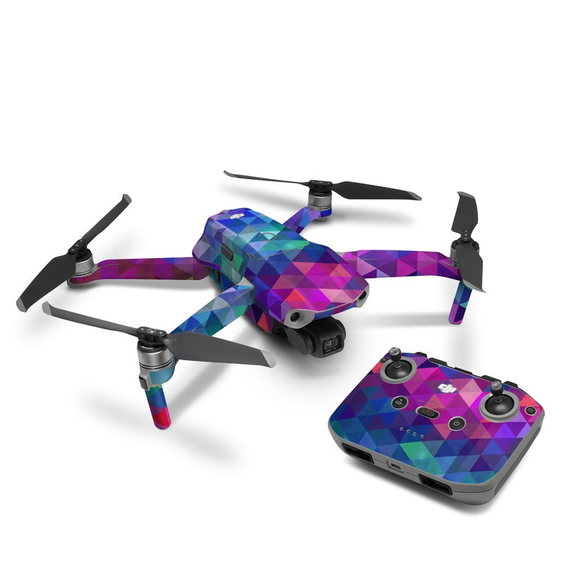 DJI Mavic Air 2 Skin design of Purple, Violet, Pattern, Blue, Magenta, Triangle, Line, Design, Graphic design, Symmetry with blue, purple, green, red, pink colors