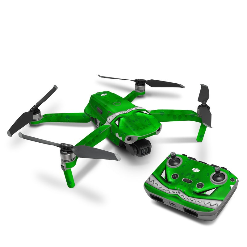 DJI Mavic Air 2 Skin design of Green, Font, Animation, Logo, Graphics, Games with green, white colors