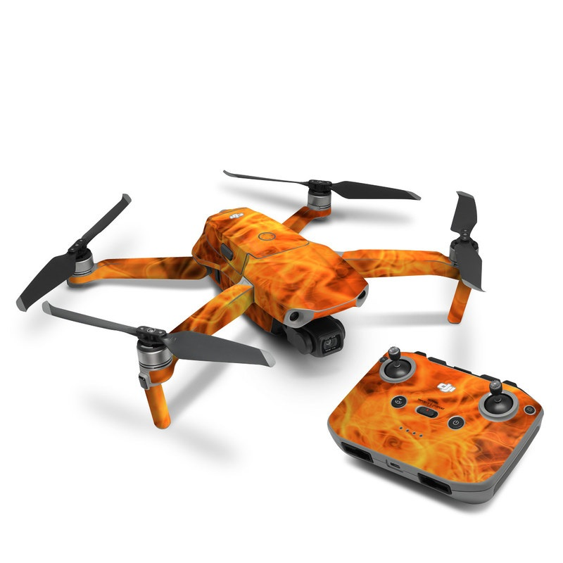 DJI Mavic Air 2 Skin design of Flame, Fire, Heat, Orange with red, orange, black colors