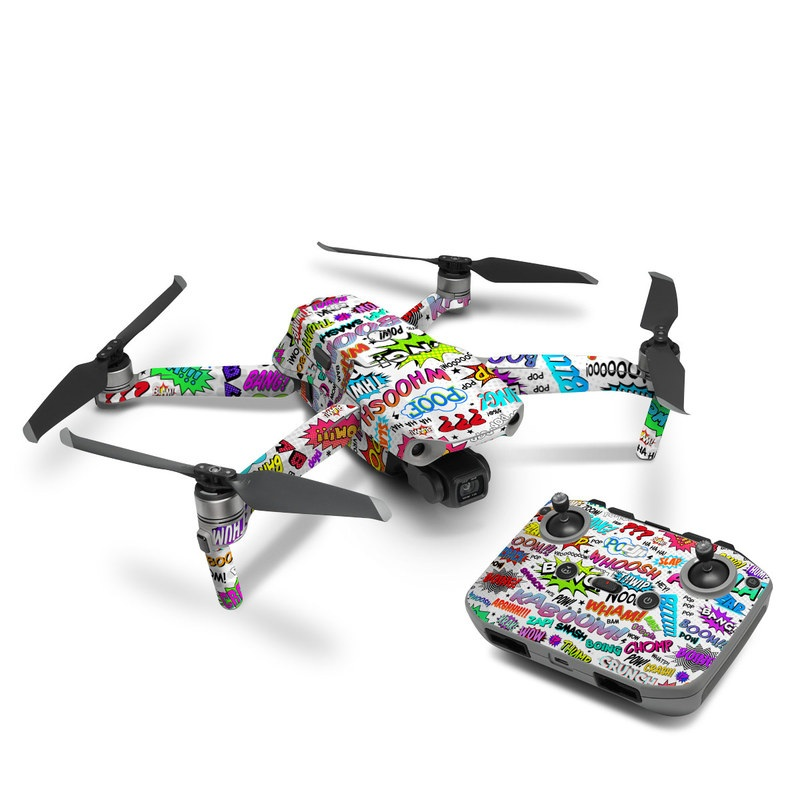 DJI Mavic Air 2 Skin design of Text, Font, Line, Graphics, Art, Graphic design with gray, white, red, blue, black colors