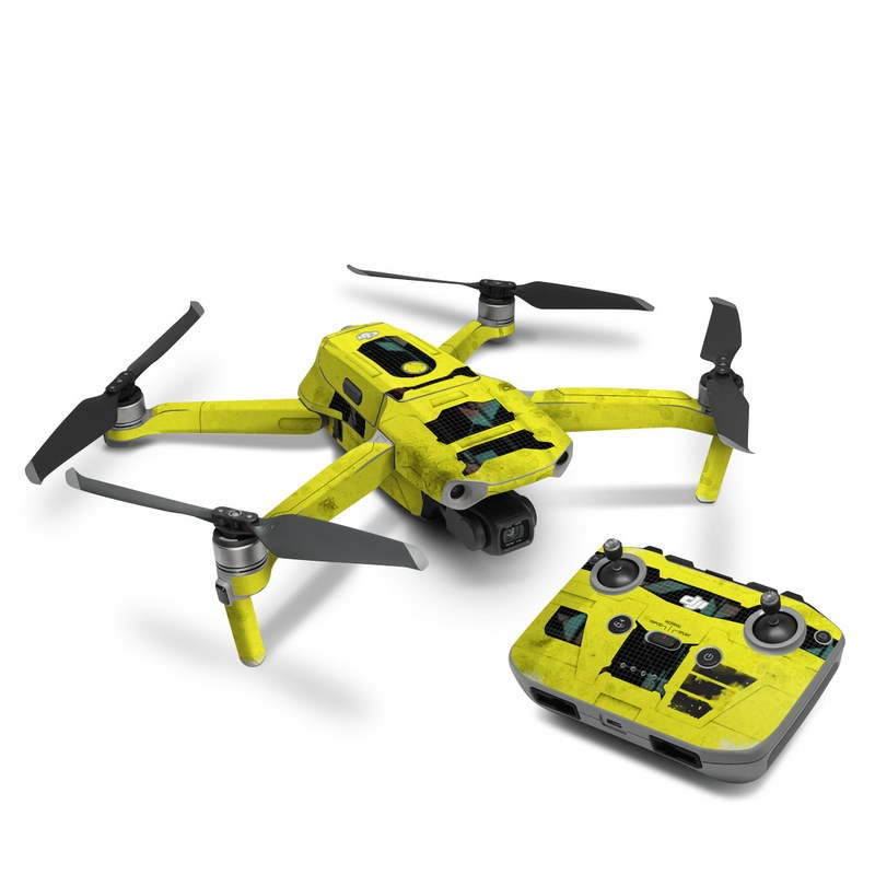 DJI Mavic Air 2 Skin design of Yellow, Green, Font, Pattern, Graphic design with black, yellow, gray, blue, green colors