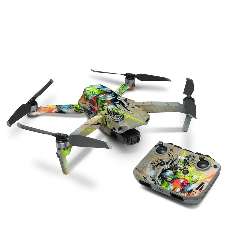 DJI Mavic Air 2 Skin design of Graphic design, Art, Illustration, Fictional character, Visual arts, Graphics, Painting, Watercolor paint, Modern art, Games with gray, black, green, red, orange, pink colors