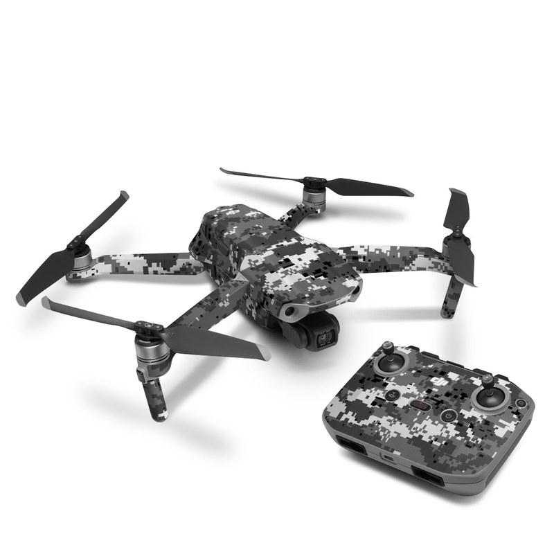 DJI Mavic Air 2 Skin design of Military camouflage, Pattern, Camouflage, Design, Uniform, Metal, Black-and-white with black, gray colors