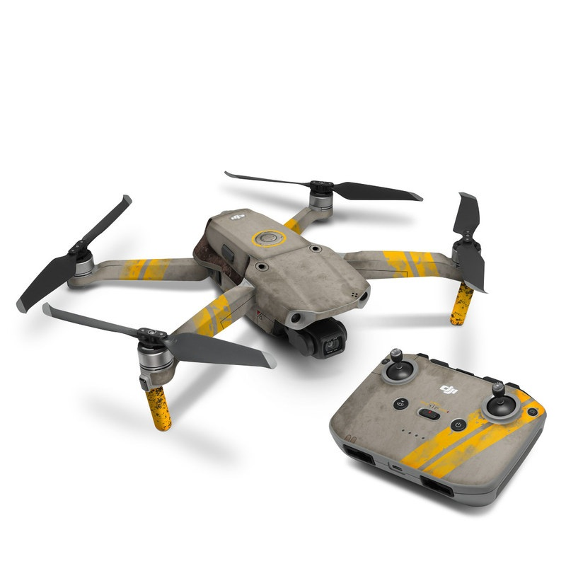 DJI Mavic Air 2 Skin design of Yellow, Wall, Line, Orange, Design, Concrete, Font, Architecture, Parallel, Wood with gray, yellow, red, black colors