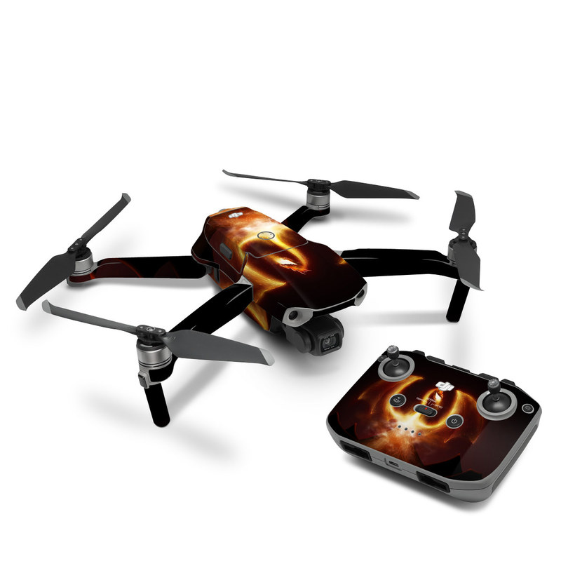DJI Mavic Air 2 Skin design of Light, Atmosphere, Orange, Space, Heat, Sky, Darkness, Art, Geological phenomenon, Universe with black, red, green, pink colors