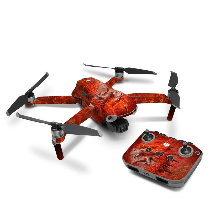DJI Mavic Air 2 Skin design of Fictional character, Cg artwork, Illustration, Art, Demon, Geological phenomenon, Mythical creature, Dragon, Cryptid with red, orange, yellow colors