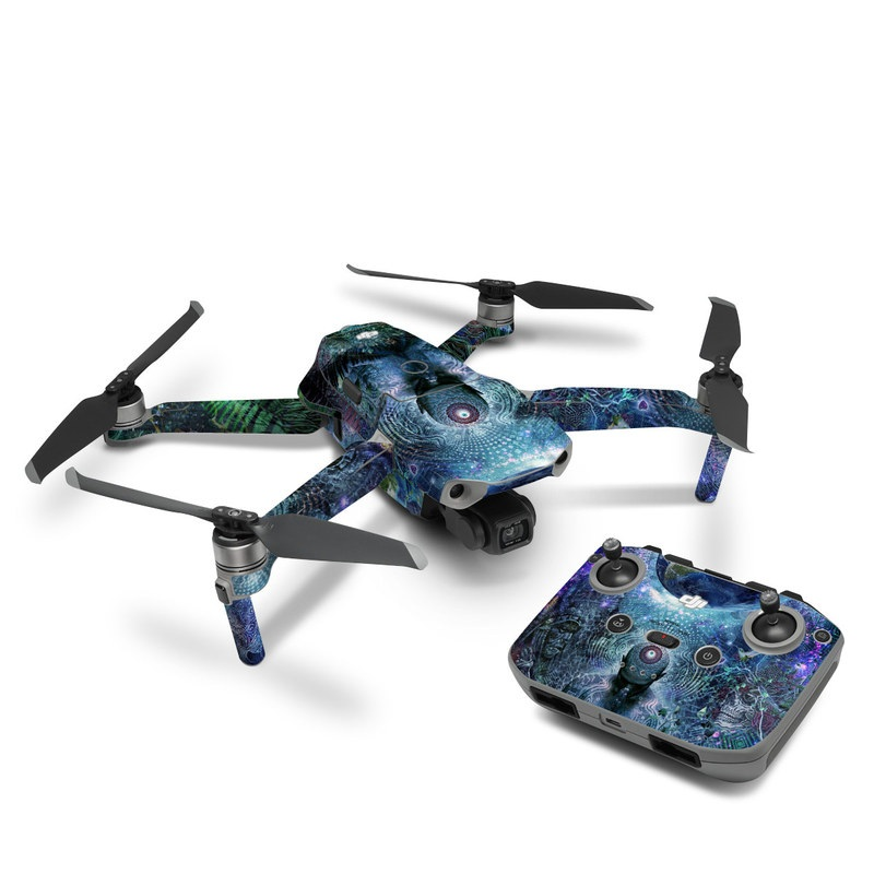 DJI Mavic Air 2 Skin design of Psychedelic art, Fractal art, Art, Space, Organism, Earth, Sphere, Graphic design, Circle, Graphics with blue, green, gray, purple, pink, black, white colors