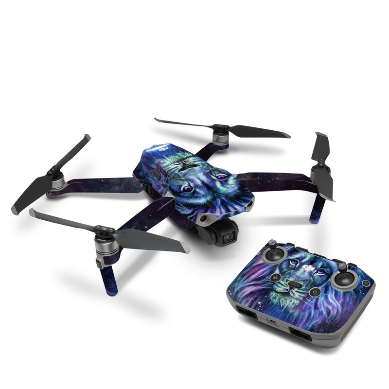 DJI Mavic Air 2 Skin design of Lion, Felidae, Purple, Wildlife, Big cats, Illustration, Darkness, Space, Painting, Art with purple, blue, green, black, white, red colors