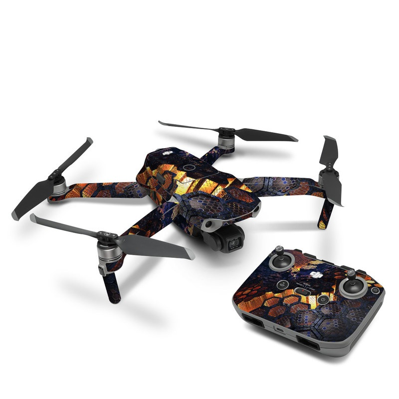 DJI Mavic Air 2 Skin design of Geological phenomenon, Sky, Water, Cobblestone, Rock, Reflection, Colorfulness, World, Art with black, red, green colors