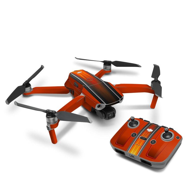 DJI Mavic Air 2 Skin design of Orange, Red, Line, Material property, Rectangle, Automotive lighting with red, black, orange, gray colors