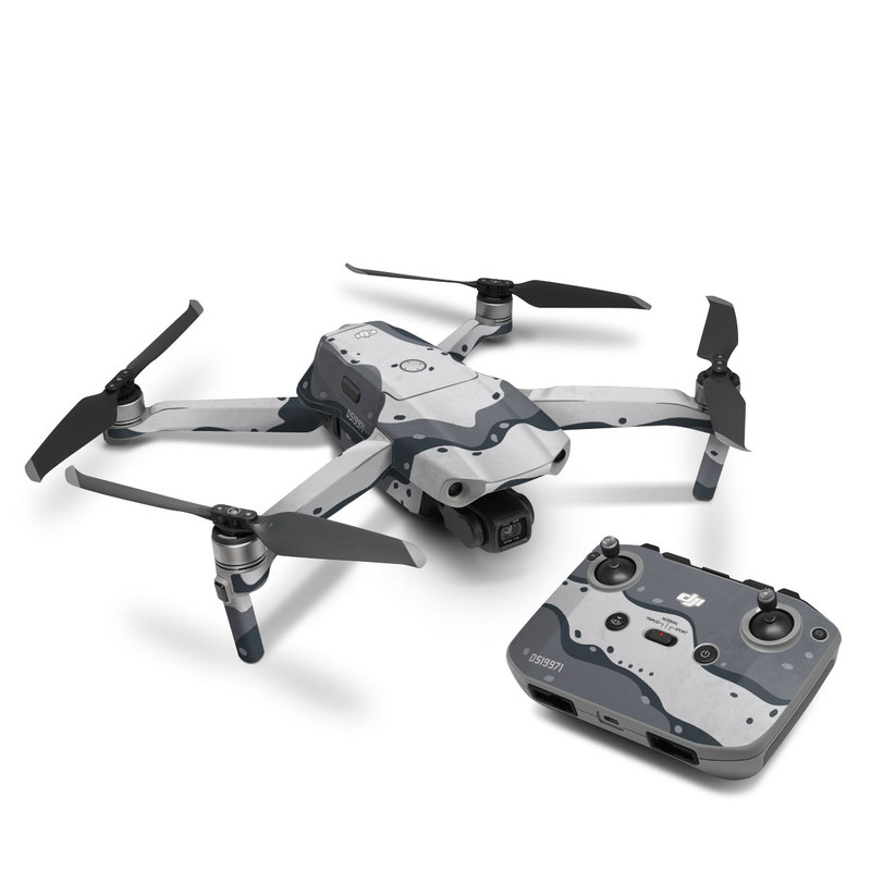 DJI Mavic Air 2 Skin design of White, Pattern, Water, Design, Illustration, Black-and-white, Metal, Drawing, Style with black, white, gray colors