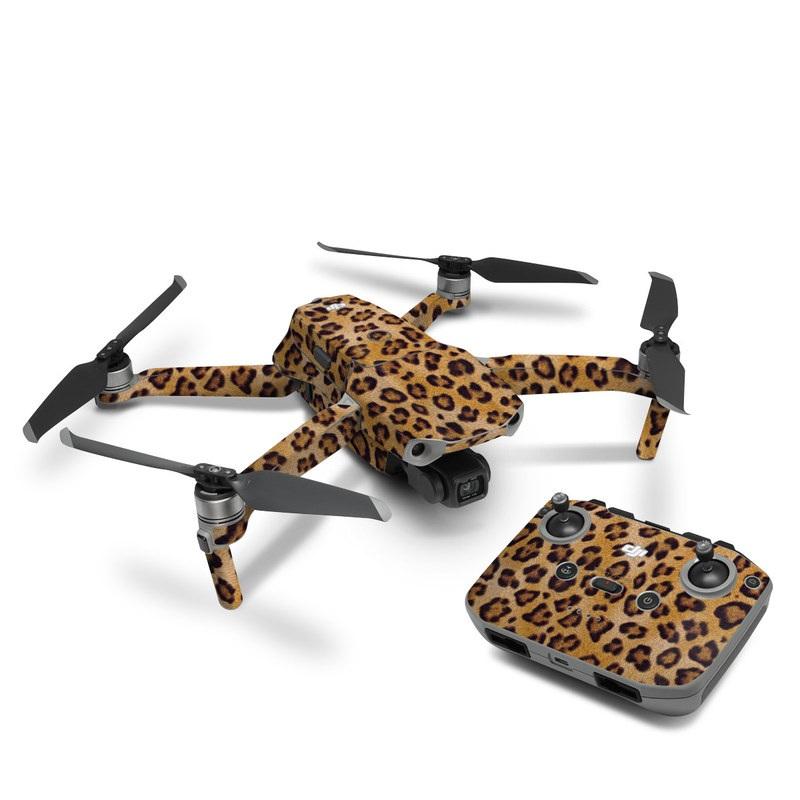 DJI Mavic Air 2 Skin design of Pattern, Felidae, Fur, Brown, Design, Terrestrial animal, Close-up, Big cats, African leopard, Organism with orange, black colors