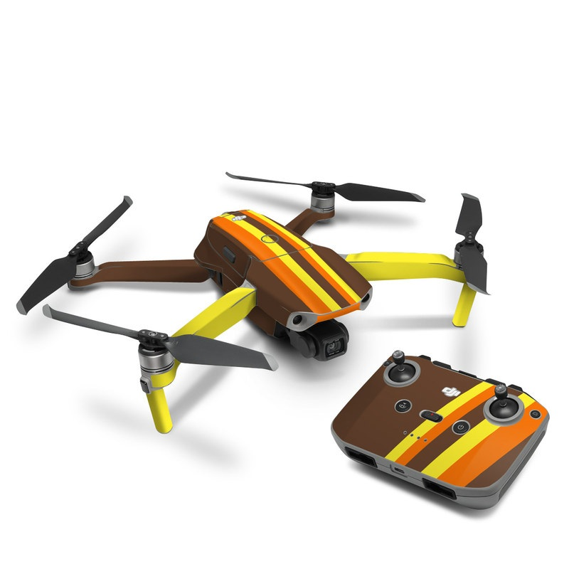 DJI Mavic Air 2 Skin design of Orange, Yellow, Line, Brown, Font, Material property, Graphic design, Pattern, Parallel with brown, orange, yellow colors
