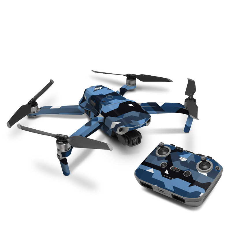 DJI Mavic Air 2 Skin design of Blue, Pattern, Design, Font, Line, Camouflage, Illustration, Triangle with blue, black, white, gray colors
