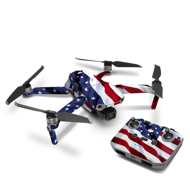 DJI Mavic Air 2 Skin design of Flag, Flag of the united states, Flag Day (USA), Veterans day, Memorial day, Holiday, Independence day, Event with red, blue, white colors