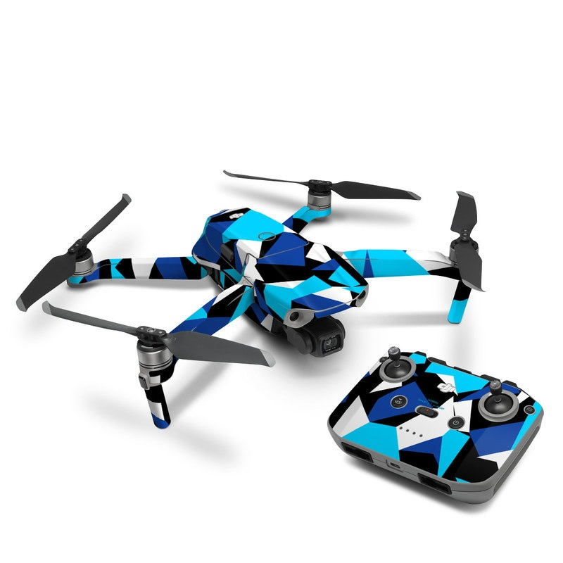 DJI Mavic Air 2 Skin design of Blue, Pattern, Turquoise, Cobalt blue, Teal, Design, Electric blue, Graphic design, Triangle, Font with blue, white, black colors