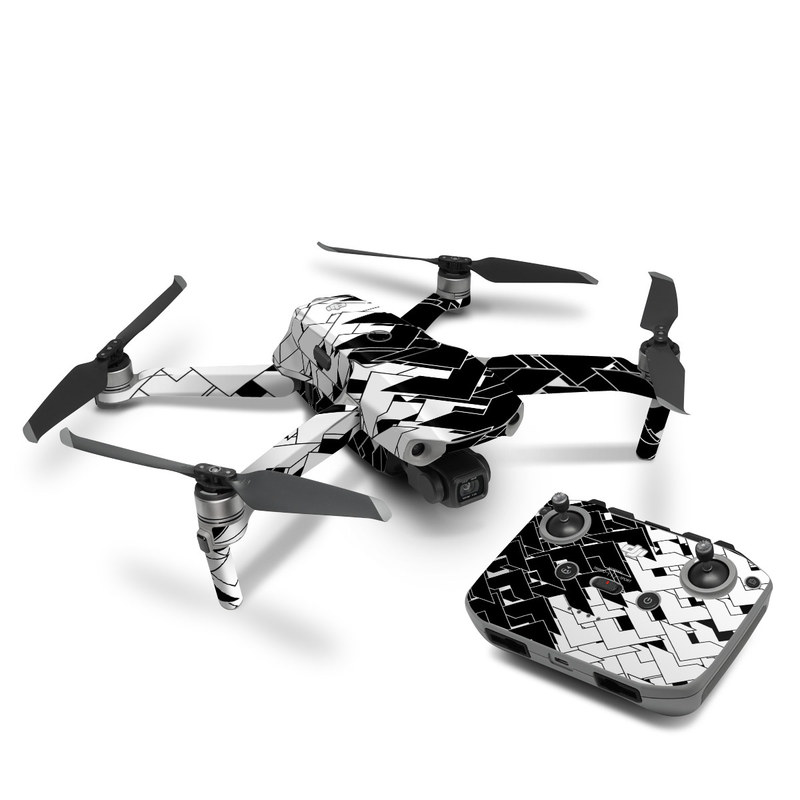 DJI Mavic Air 2 Skin design of Pattern, Black, Black-and-white, Monochrome, Monochrome photography, Line, Design, Parallel, Font with black, white colors