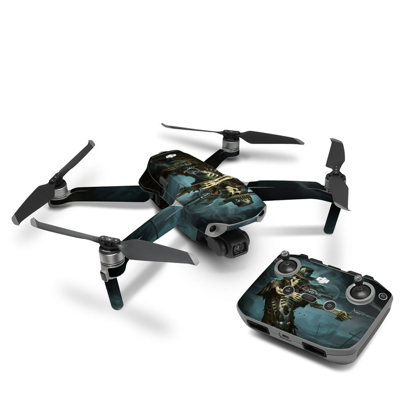 DJI Mavic Air 2 Skin design of Cg artwork, Action-adventure game, Darkness, Illustration, Games, Adventure game, Pc game, Woman warrior, Digital compositing, Fictional character with black, white, blue, gray colors