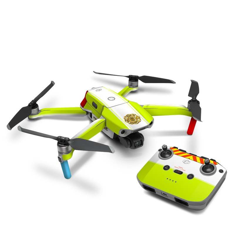 DJI Mavic Air 2 Skin design of Yellow, Line, Font, Military rank with white, green, red, yellow colors