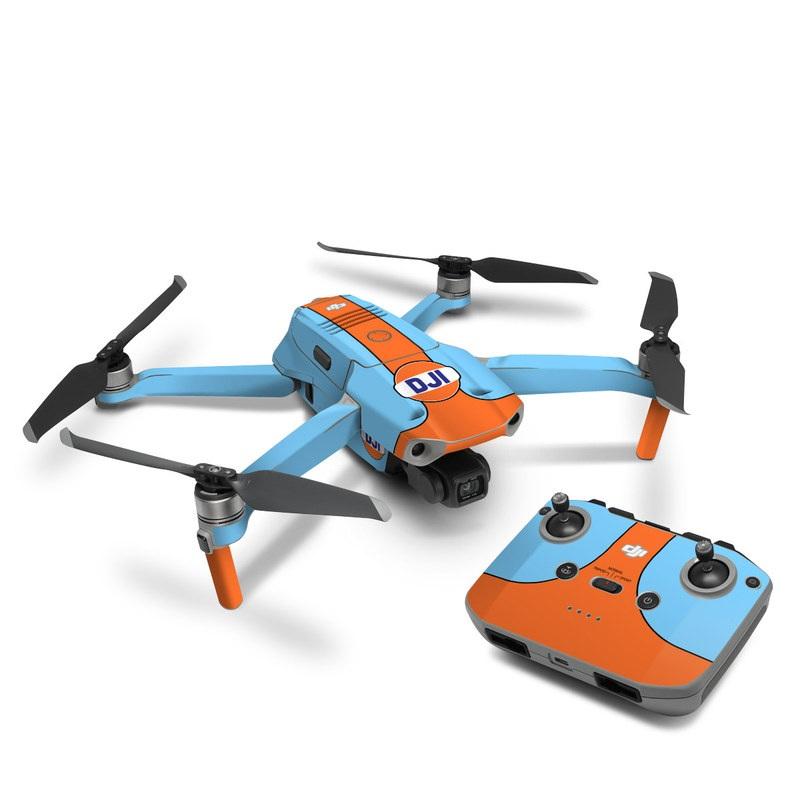 DJI Mavic Air 2 Skin design of Line with blue, orange, black colors