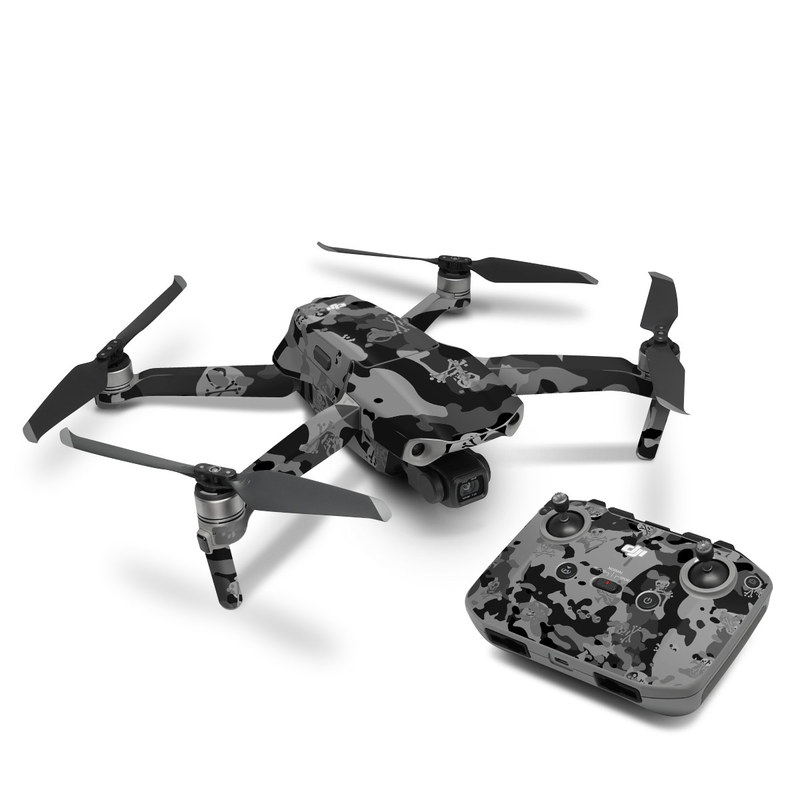 DJI Mavic Air 2 Skin design of Military camouflage, Pattern, Design, Camouflage, Illustration, Uniform, Black-and-white, Wallpaper, Art with black, gray colors