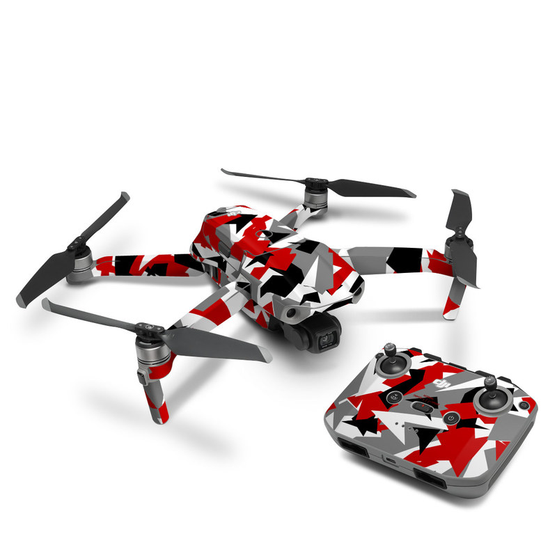 DJI Mavic Air 2 Skin design of Red, Pattern, Font, Design, Textile, Carmine, Illustration, Flag, Crowd with red, white, black, gray colors