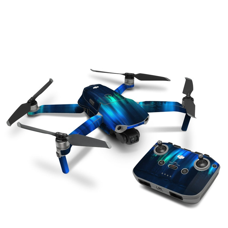 DJI Mavic Air 2 Skin design of Blue, Light, Natural environment, Tree, Sky, Forest, Darkness, Aurora, Night, Electric blue with black, blue colors