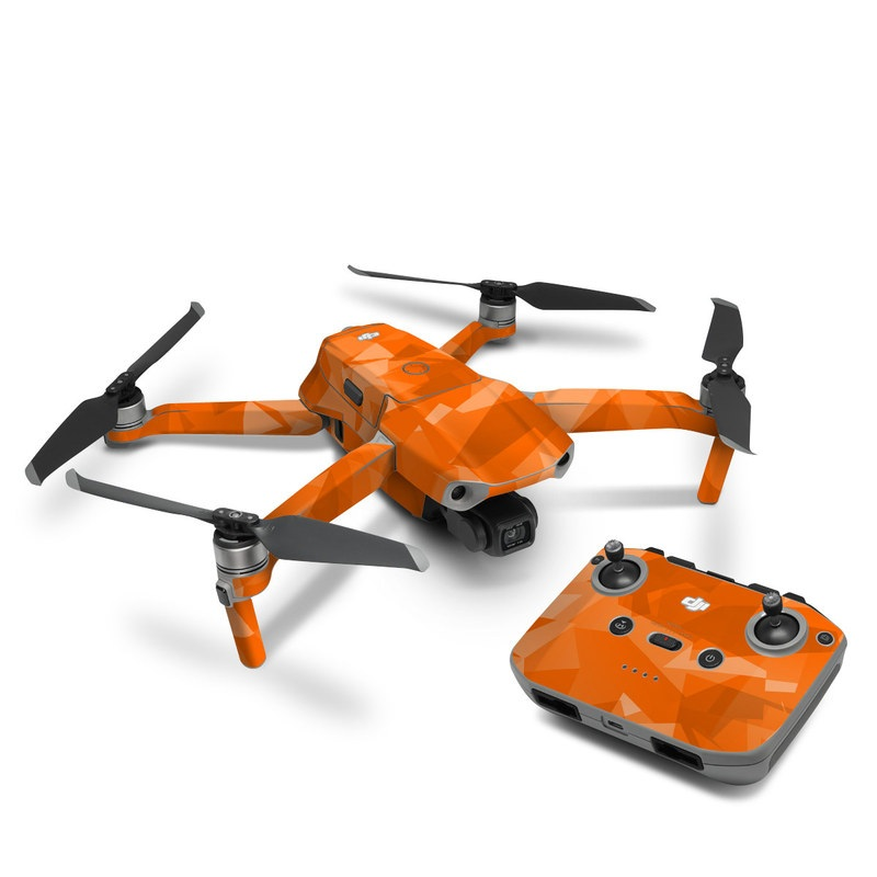 DJI Mavic Air 2 Skin design of Orange, Pattern, Peach, Line, Design, Triangle with orange colors